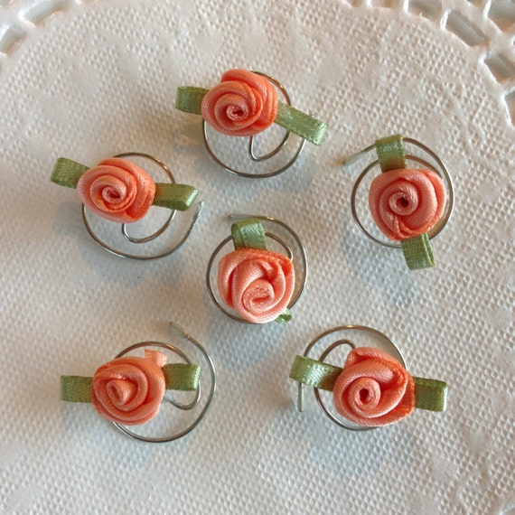 Wedding Hair Swirls-Bridesmaids Roses Spins-Twists Spirals Coils-Peach