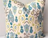 Ikat Pillow Cover Decorative Throw Pillow Blue Green Pillow Cushion Accent Housewares Home Decor