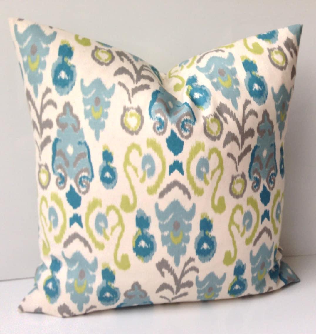 Ikat Throw Pillow Covers : Ikat Pillow Cover Decorative Throw Pillow Blue Green Pillow