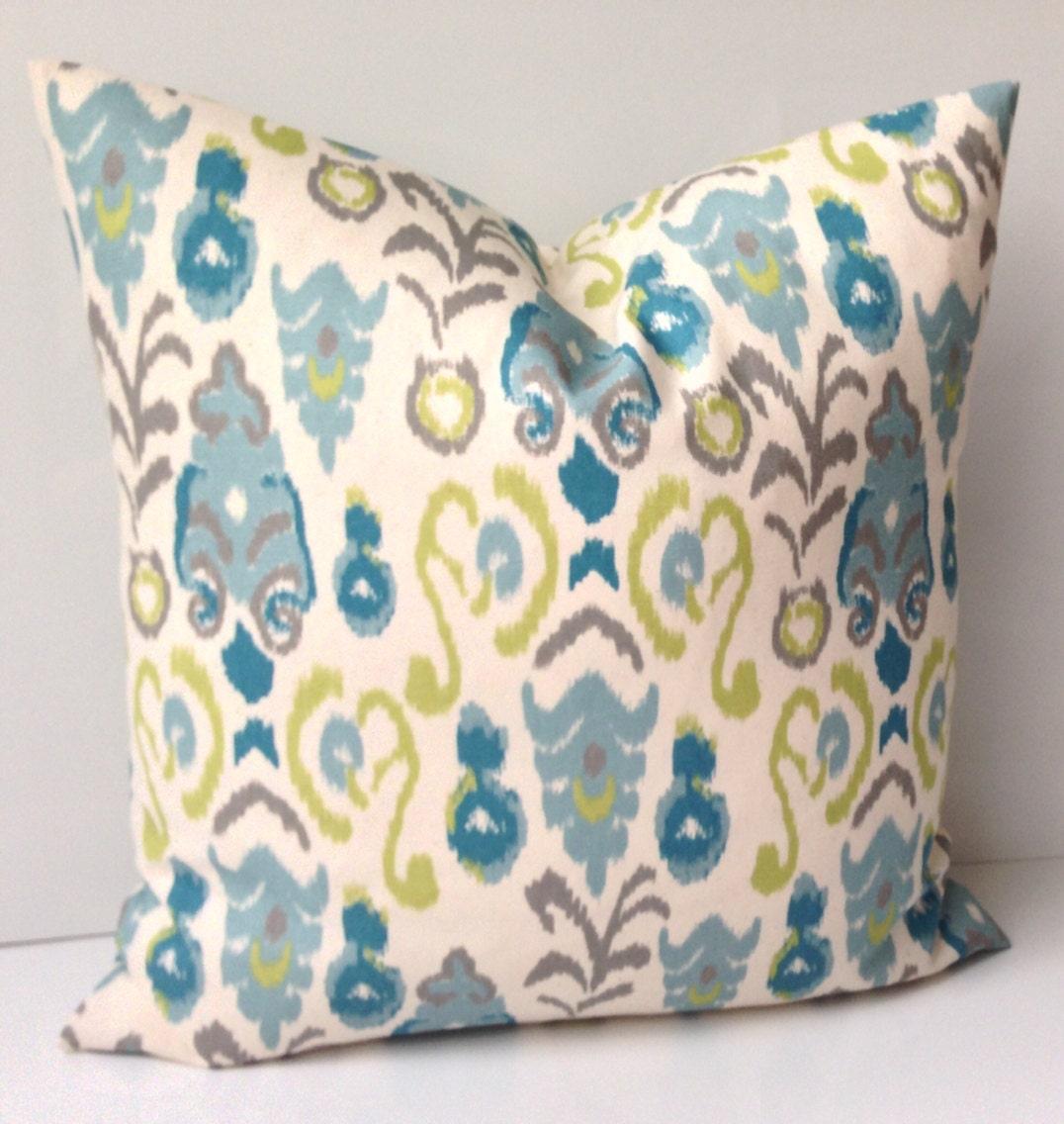 Ikat Pillow Cover Decorative Throw Pillow Blue Green Pillow
