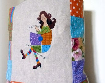 Counted Cross Stitch Pattern, Instant Digital Download- Patchwork girl