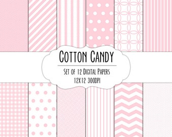 Cotton Candy Pink Digital Scrapbook Paper 12x12 Pack - Set of 12 - Polka Dot, Chevron, Gingham - Instant Download - Item# 8004