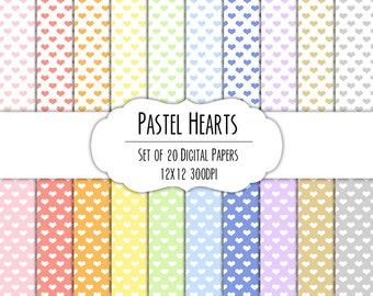 Pastel Rainbow Hearts Digital Scrapbook Paper 12x12 Pack - Set of 20 - Instant Download - Item# 8057