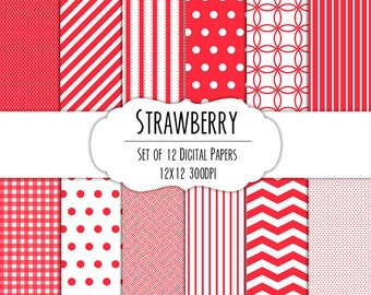 Strawberry Red Digital Scrapbook Paper 12x12 Pack - Set of 12 - Polka Dots, Chevron, Gingham - Instant Download - Item# 8172