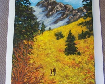 High Country Family Hikers Autumn Grasses Evergreens Mountain Snow Original 9x12 Acrylic Painting