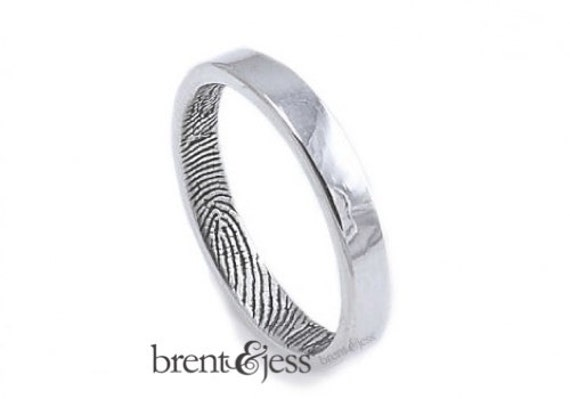 Narrow 3mm Fingerprint Wedding Ring with Wrapped Print on the Inside - Sterling Silver