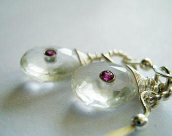 Quartz Crystal Set with Pink Sapphires in 18k White Gold Bezels