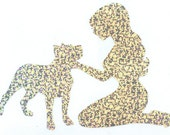 Pitbull and Pin Up Silhouette, Silver Glitter Vinyl Decal