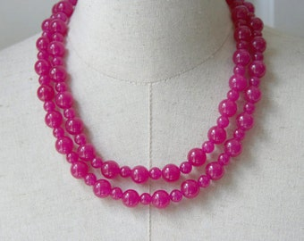 Hot Pink Fuschia beaded necklace double strand, Statement Necklace Two  2 Strands Pink Beads