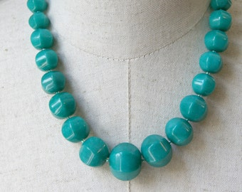 Teal Chunky Beaded Necklace,  Blue Green Statement Graduated Beads