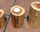Set of 3 Wooden Cedar Candle Holders
