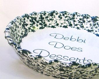 Hunter Green Spongeware Pie Dish - Personalized Pie Plate - Country Spongeware in Green - Personalized Ceramic Pie Plate - Baking Dish