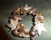 Vintage Leaf and Acorn Wreath Brooch Silver Gold and Copper