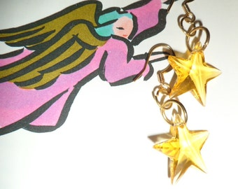 Starry Starry Night  Gpld Star crystal  Earrings