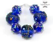 Czech Lampwork Round Glass Beads (7), Cobalt Blue, Lavender, Flowers