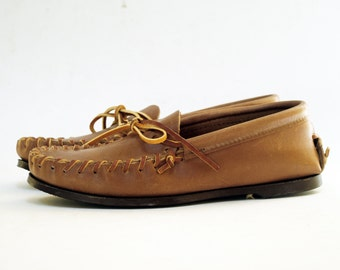 NOS Deadstock Sturdy Brown Leather Moccasin Top Siders 6