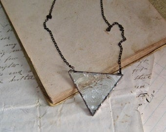Clear Triangle Bib Necklace Geometric Transparent Glass Jewelry
