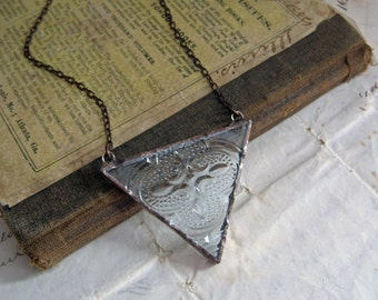 Clear Triangle Bib Necklace Geometric Stained Glass Jewelry