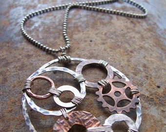 Organic Mixed Metals Steampunk Necklace - Industrial Evolution Collection - Steampunk Necklace - Organic Industrial Jewelry