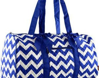Personalized Royal Blue Chevron Quilted Duffle Bag