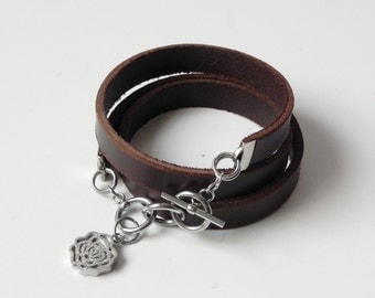 Brown Leather Bracelet Leather Cuff Bracelet Wrap Bracelet with Stainless Clasp and Charm