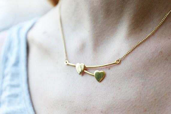 Heart Bar Necklace, Double Heart Necklace, Branch Heart Necklace, Love Necklace, Gold Heart Necklace, Vintage Heart Necklace