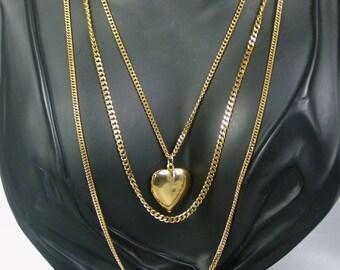 Vintage Three Strand Gold Tone Metal Heart Locket Necklace