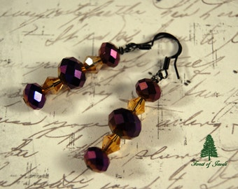 "Purple and Citrine Crystal Earrings   ""In a Midnight Garden"""