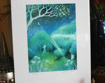 Special edition art print embellished with gold leaf. 'Moon' . Amanda Clark.