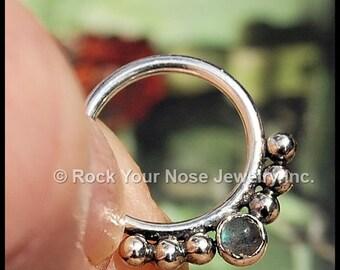 Labradorite Septum Ring Nose Ring - CUSTOMIZE