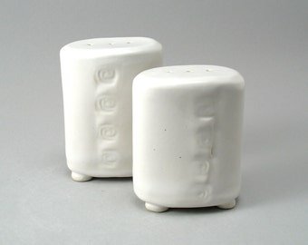 Salt & Pepper Shakers-Hand Built-Textured-White Glaze-Stoneware-Oval-Tableware-Set of 2-Pottery-Ready to Ship