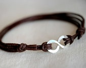 Infinity Bracelet Sterling Silver- Brown leather - Men and Unisex bracelet - made to order