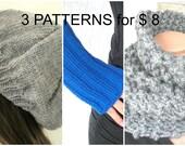3 PATTERN COLLECTION  -  PDF Knitting Pattern - Instant Download pattern - Hat Beret  pattern   - Outlander  Cowl Pattern - Gloves  Pattern
