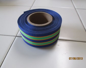 Ribbon, vintage grosgrain 1960's rayon/poly blend multi-colored stripes in greens, blues