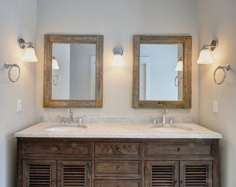 Double Sink Bathroom Mirror Set - 2 Reclaimed Wood Mirrors Size 24 x 28  - Rustic Decor