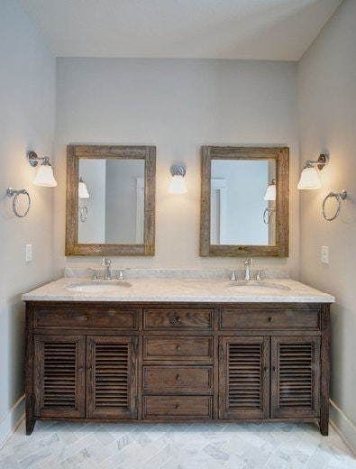 Double sink bathroom mirror set 2 reclaimed wood mirrors - Bathroom mirror ideas for double vanity ...