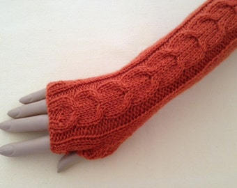 Luxury Hand Knitted Extra Long Soft Merino Wool Fingerless Gloves/Mittens Arm Wrist Warmers,Autumn Leaf (Burnt Orange)