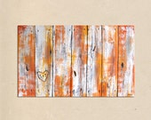 rustic faux wood wall fence, original PAINTING art- personalized with names or initials, rustic home decor, rustic wall decor, wedding gift