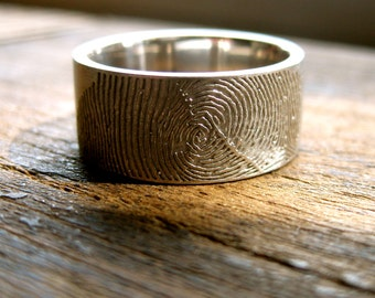 Finger Print Wedding Band in Palladium with Flat Pipe Cut Ring Profile and Text Engraving in Your Own Handwriting Size 9