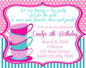Tea party birthday invitation, Customizable, printable, digital file
