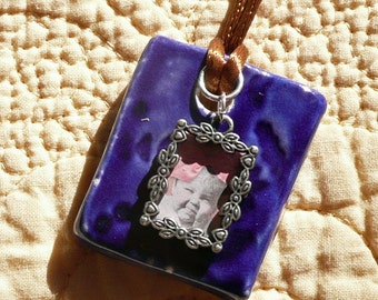 Royal Blue Double Sided Porcelain Pendant with Frame Charm