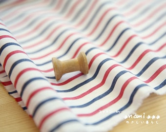 Nautical Marine, Neat Chic French Style Retro Blue and Red Simple Stripes - Japanese Thin Cotton Fabric (1/2 Yard)