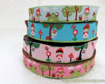 1 Yard Embroidery Sewing Ribbon/Trim - Fairy Tale Little Red Riding Hood and Bad Wolf In Forest Woods