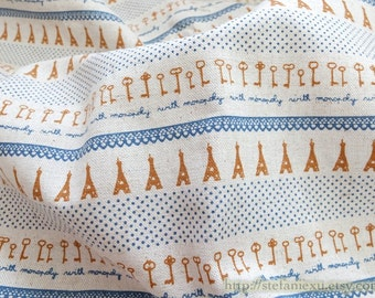 2015 SALE CLEARANCE 1 YARD French Style French Blue Elegant Eiffel Tower Lace Dots Key Letters Poem Patchwork-Linen Cotton Blended Fabric