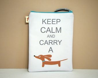 Dachshund Wiener Dog Mini iPad Case - Keep Calm and Carry a Doxie - Tablet Cover Gray