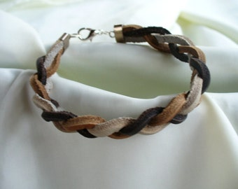 Tri Color Brown Braided Leather Bracelet