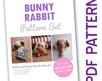 Amigurumi Crochet Woodland Bunny Rabbit PDF Pattern Set Security Blanket Baby Toy e-book Deal Bargain