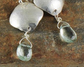 Green Amethyst Sterling Silver Earrings, Organic Silver Earrings, Prasiolite Earrings