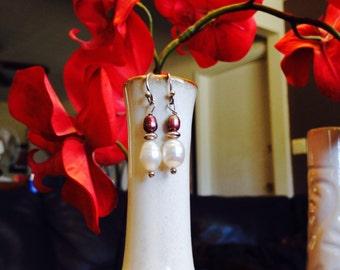 Freshwater Pearl & Sterling Silver Dangle Earrings