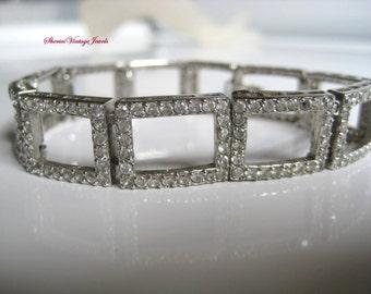 Art Deco Bracelet Geometric Links Clear Pave Rhinestones. Stunning Vintage Beauty